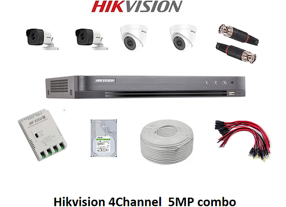 HIKVISION UHD 5MP  Combo KIT 4 Channel VR + 2 Bullet  + 2 Dome + 1TB HDD
