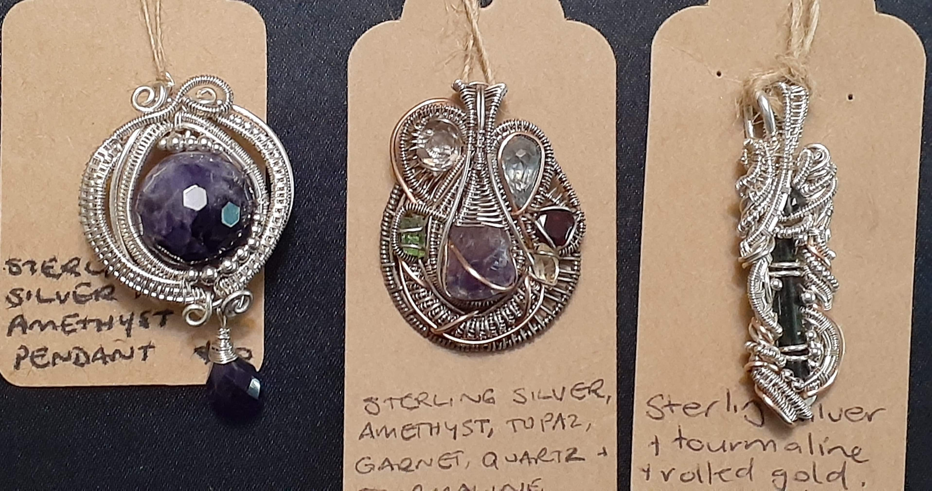 Wire Wrapt Pendant with Crystals