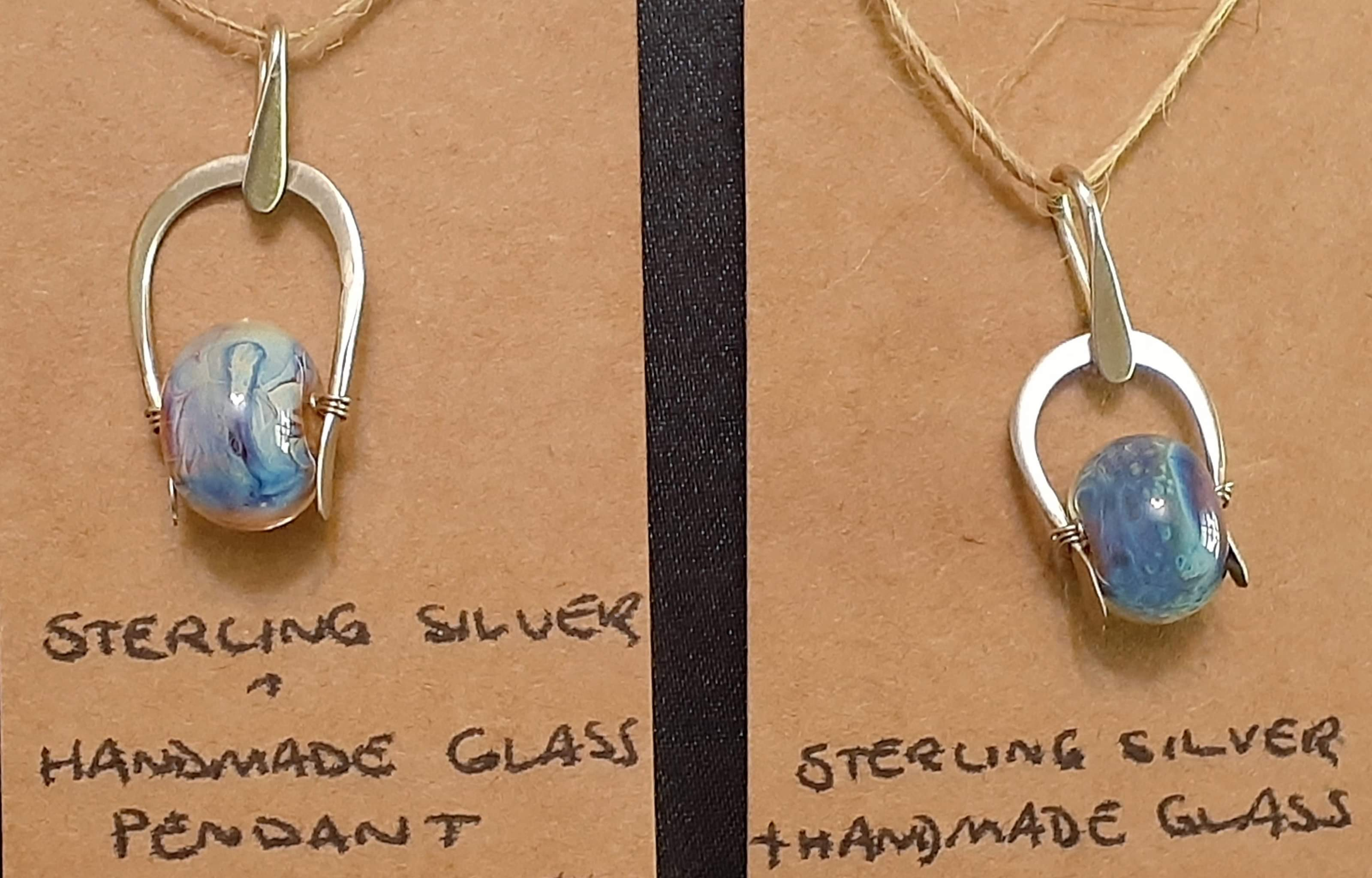 Sterling Silver with Handmade Glass Pendants