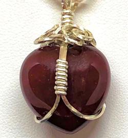 Back of Sterling Silver Wire wrapt Carnelian heart pendants