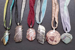 Sterling Silver Wire Wrapt Pendants on Silk Necklaces