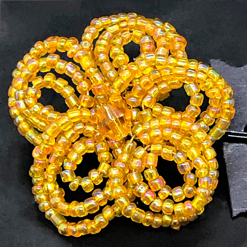 Yellow beaded flower hairpin