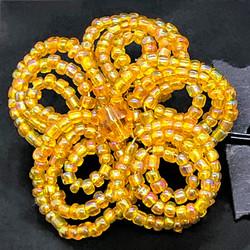 Yellow beaded flower hairpin