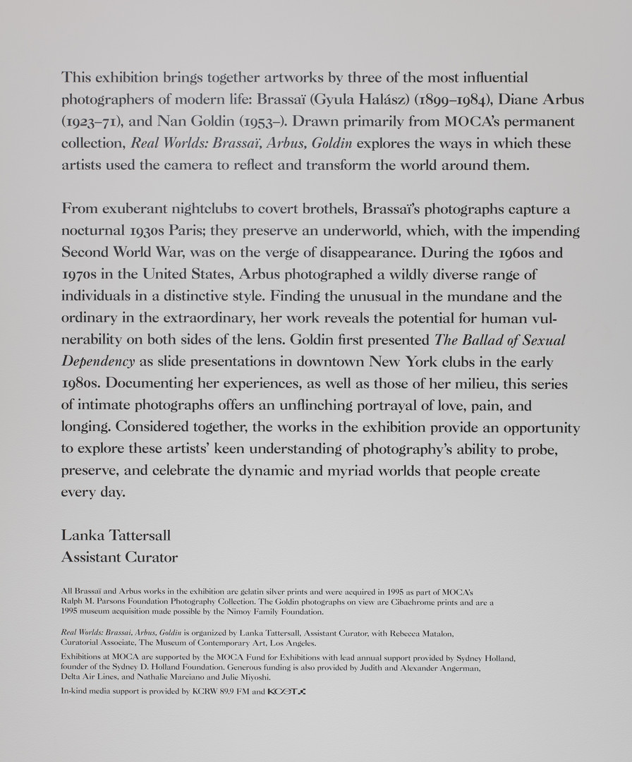 "Wall text for ""Real Worlds: Brassaï, Arbus"", Goldin, by Lanka Tattersall. 4 Mar.–3 Sept. 2018, Museum of Contemporary Art, Los Angeles. 4 Mar.- Sept 3, 2018, photo by Brian Forrest"