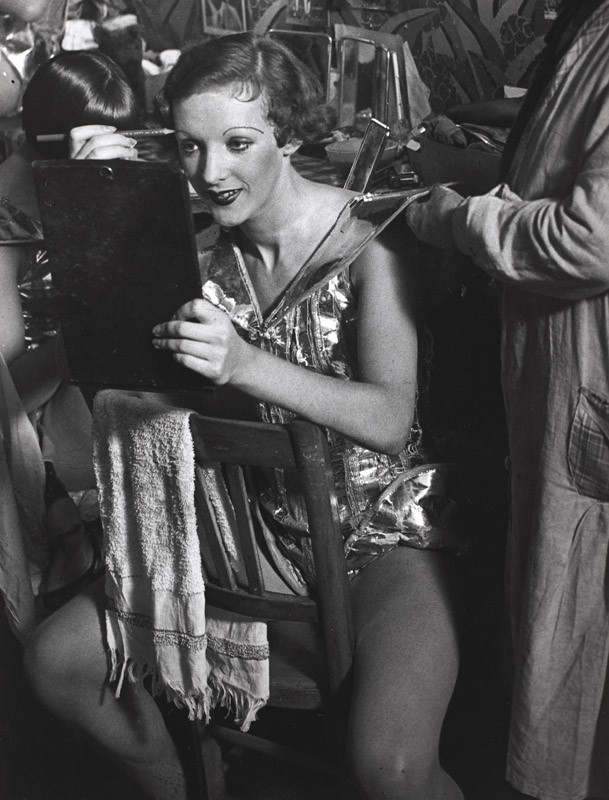 """Brassaï, """"An English girl in her dressing room at the Folies-Bergère, c. 1932"""", gelatin silver print, 11 1/4 x 8 3/4 in. (28.6 x 22.2 cm), courtesy of The Museum of Contemporary Art, Los Angeles, The Ralph M. Parsons Foundation Photography Collection"""