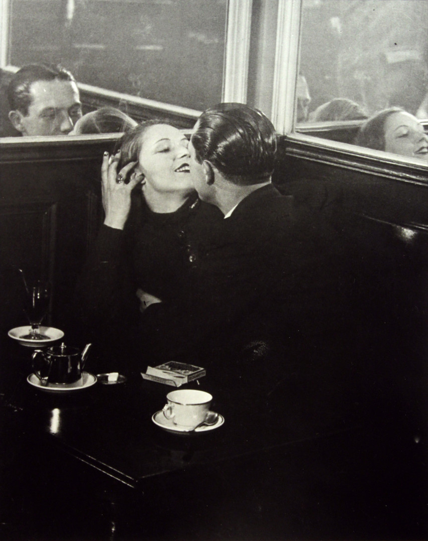 """Brassaï, """"Lovers, Place d'Italie, c. 1932"""", gelatin silver print, 14 1/2 x 11 in. (36.83 x 27.94 cm), courtesy of The Museum of Contemporary Art, Los Angeles, The Ralph M. Parsons Foundation Photography Collection"""