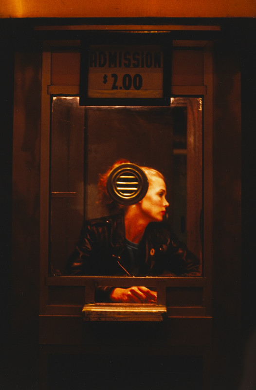 """Nan  Goldin, """"'Variety' booth, New York City, 1983"""", Cibachrome print, courtesy of The Museum of Contemporary Art, Los Angeles, The Nimoy Family Foundation"""