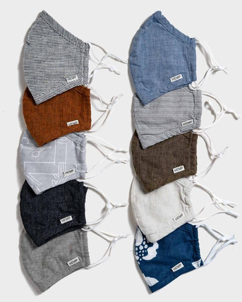 10-pack assortment of reusable hemp face masks for adults ($50). Filter add-on not included, but available for purchase (10 filters for $10).