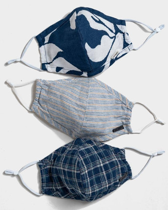 """(""""Surf Design"""") Set of 3 reusable hemp face masks from United by Blue ($20 per 3 pack). Filter add-on not included, but available for purchase (10 filters for $10)"""