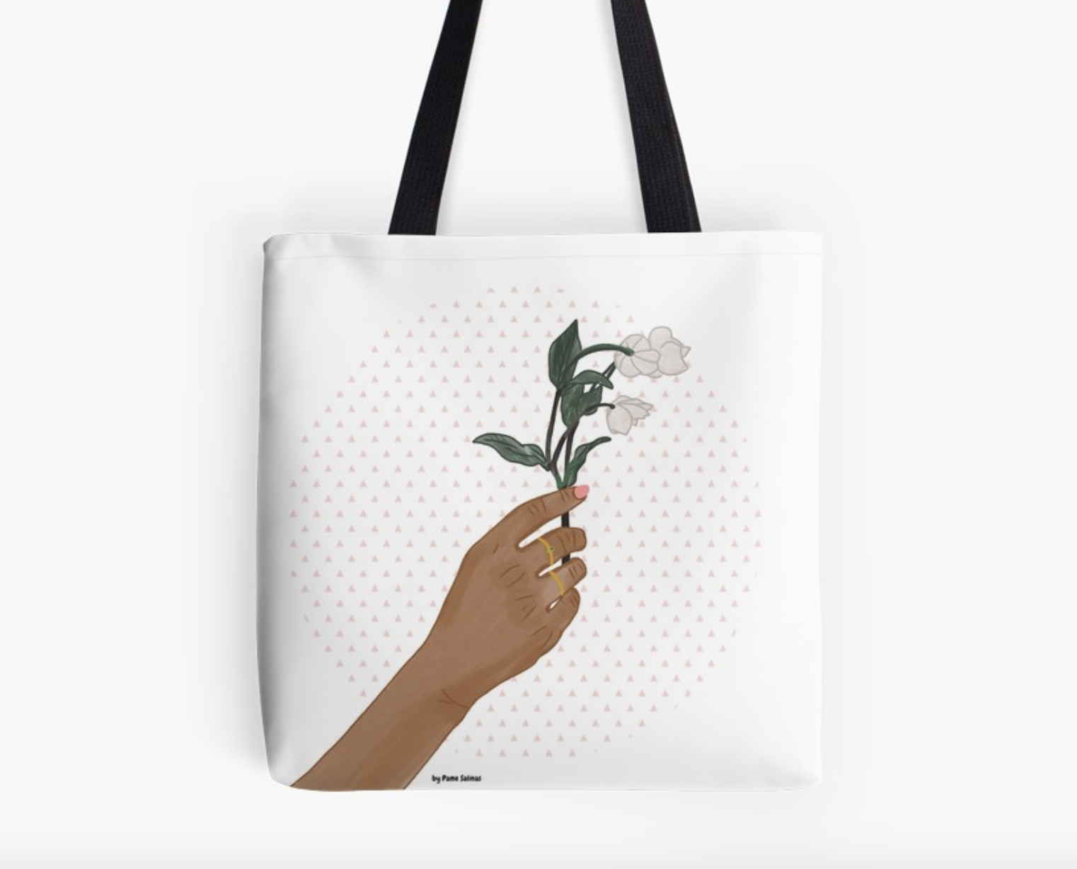 Hand holding Flowers - Tote Bag