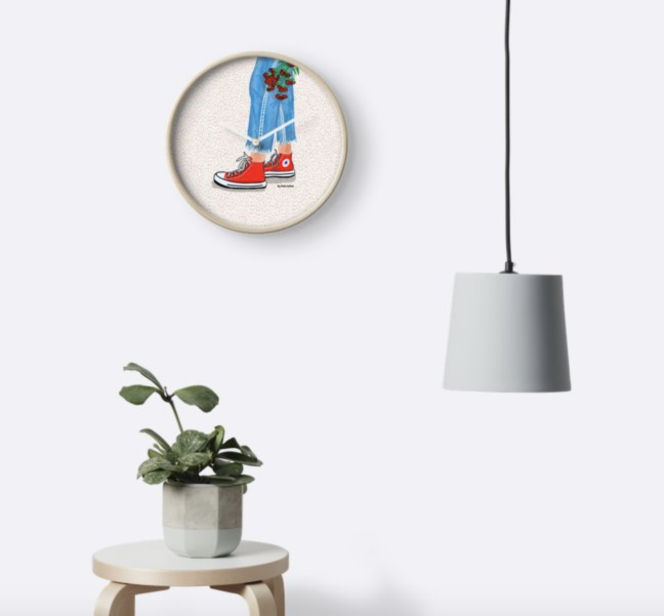 Converse&Flowers - Wall Clock