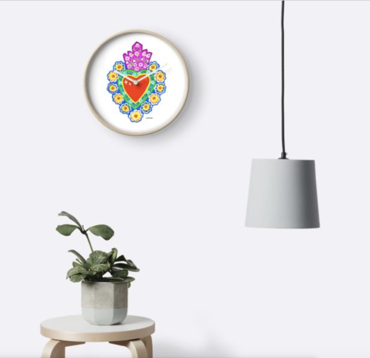 Sacred Heart Tin Clock