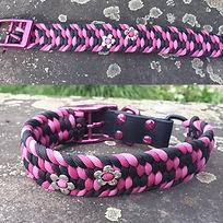 Paracord Halsband pink schwarz Hund