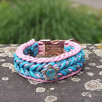 Paracord Halsband rosa blau