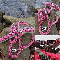 Paracord Halsband und Leine Pink