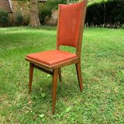 2 Chaises simili cuir 80's rouge