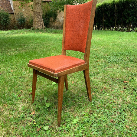 2 Chaises simili cuir 80's rouge