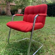 2 fauteuils rouges 70's Pied aluminuim