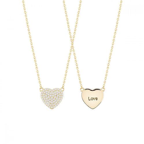 Colar Prata Dourada Unike Meaningful Engraving Gold Heart Love