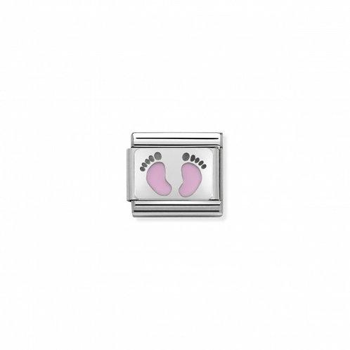 Link Nomination Plates Pink Footprints
