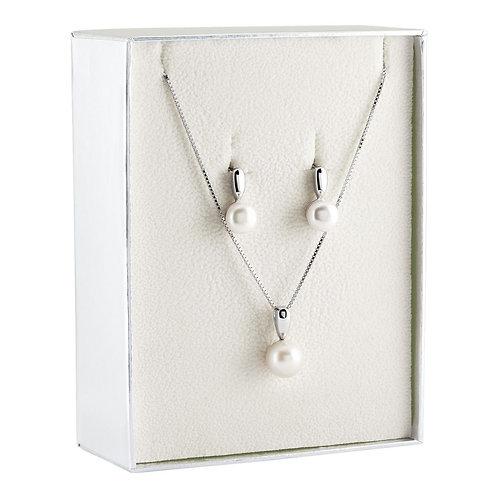 Colar e Brincos Prata Unike Classy Pearls