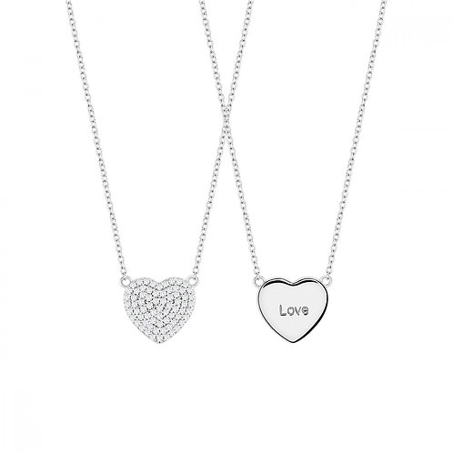 Colar Prata Unike Meaningful Engraving Silver Heart Love