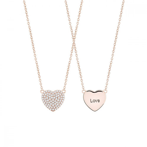Colar Prata Rosa Unike Meaningful Engraving Rose Heart Love
