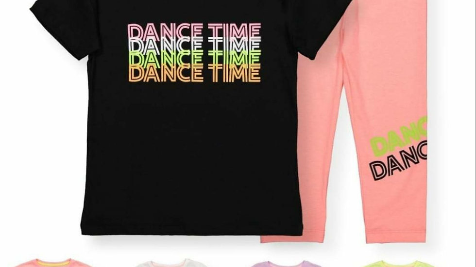 Dance time leggings and t-shirt sets