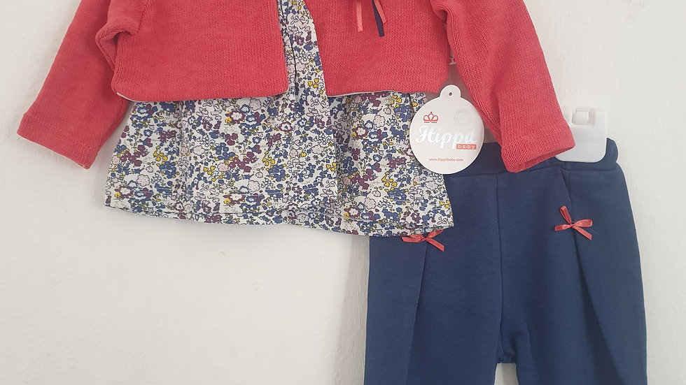 Girls 3 piece top leggings and jacket