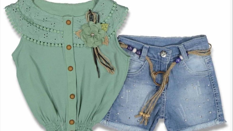 Girls beautiful frilly top with denim shorts