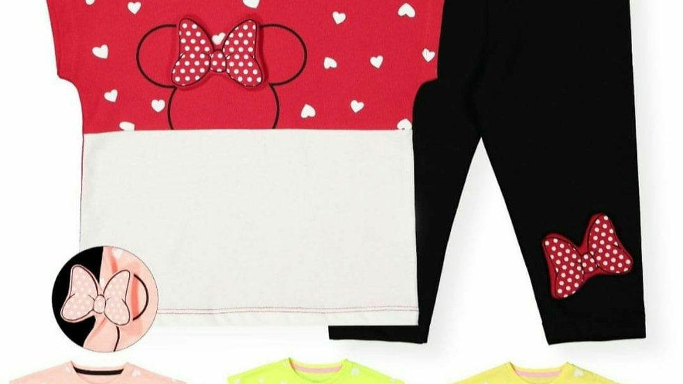 Girls mini top and leggings with 3d  bow