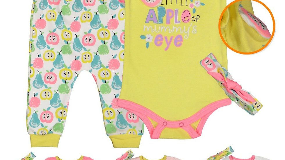 Baby girl vest with pants and headband