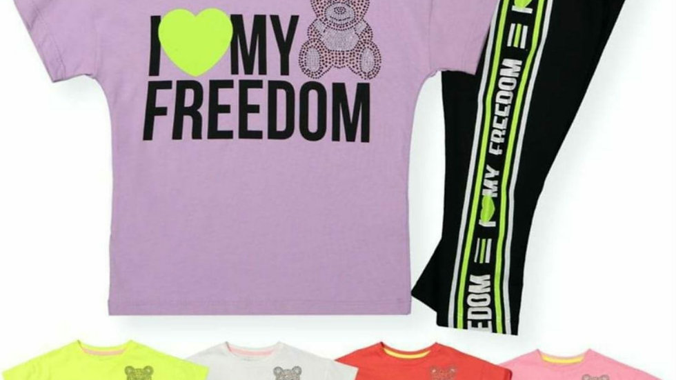 I love my freedom girls leggings and t-shirt sets