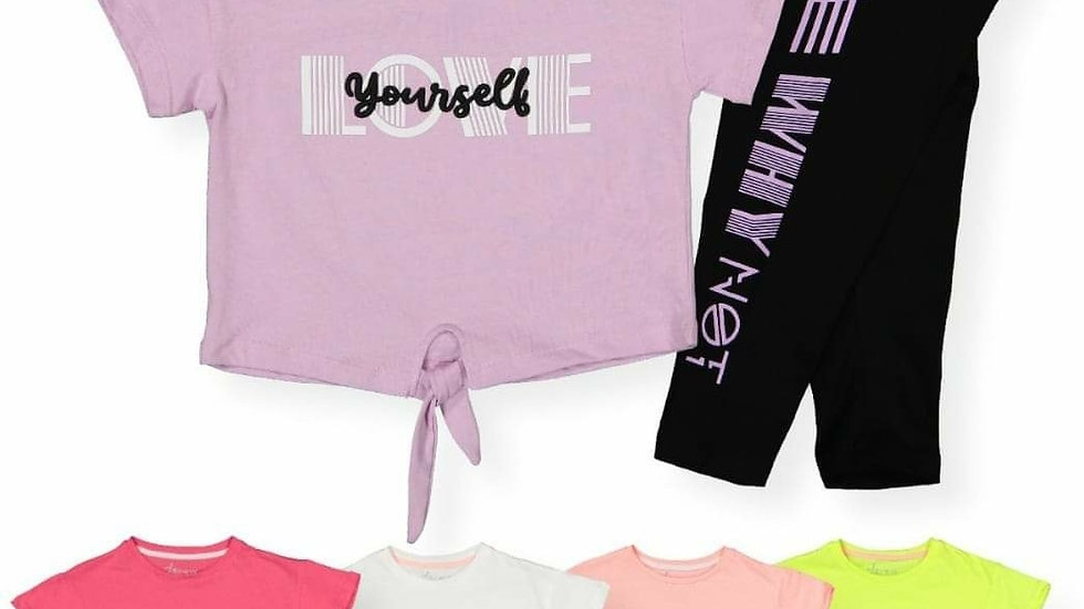 Girls love yourself leggins and t-shirt sets