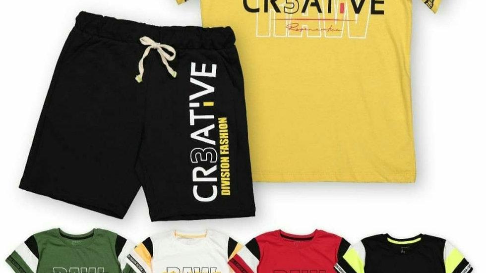 Creative raw boys shorts and t-shirt