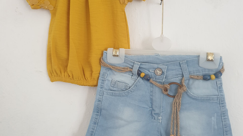 Girls mustard top and denim shorts