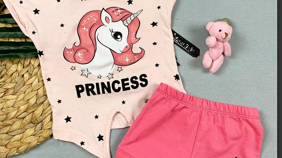 Princess girls top and shorts set