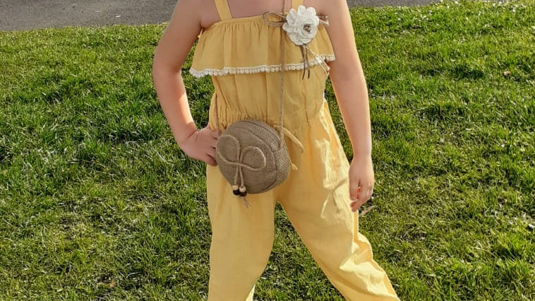 Girls yellow jumpsuit with bag