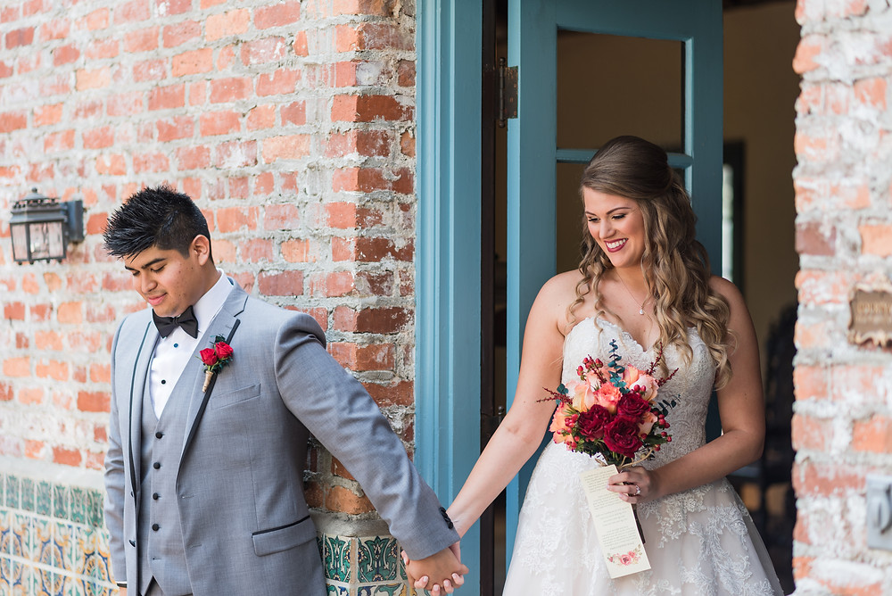 These two met in the courtyard of the historic home and wedding venue Casa Feliz. They held hands and then exchanged love letters. It was so romantic and beautiful.