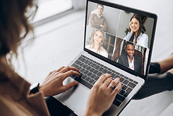 Online business meeting. Business team working from home in a video conference. _The girl