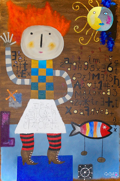 A girl and a fish (Sold)
