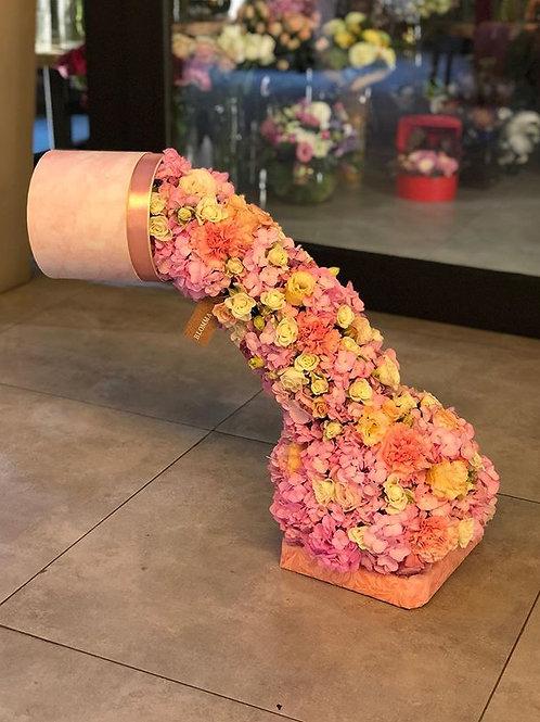 Pink flower falls