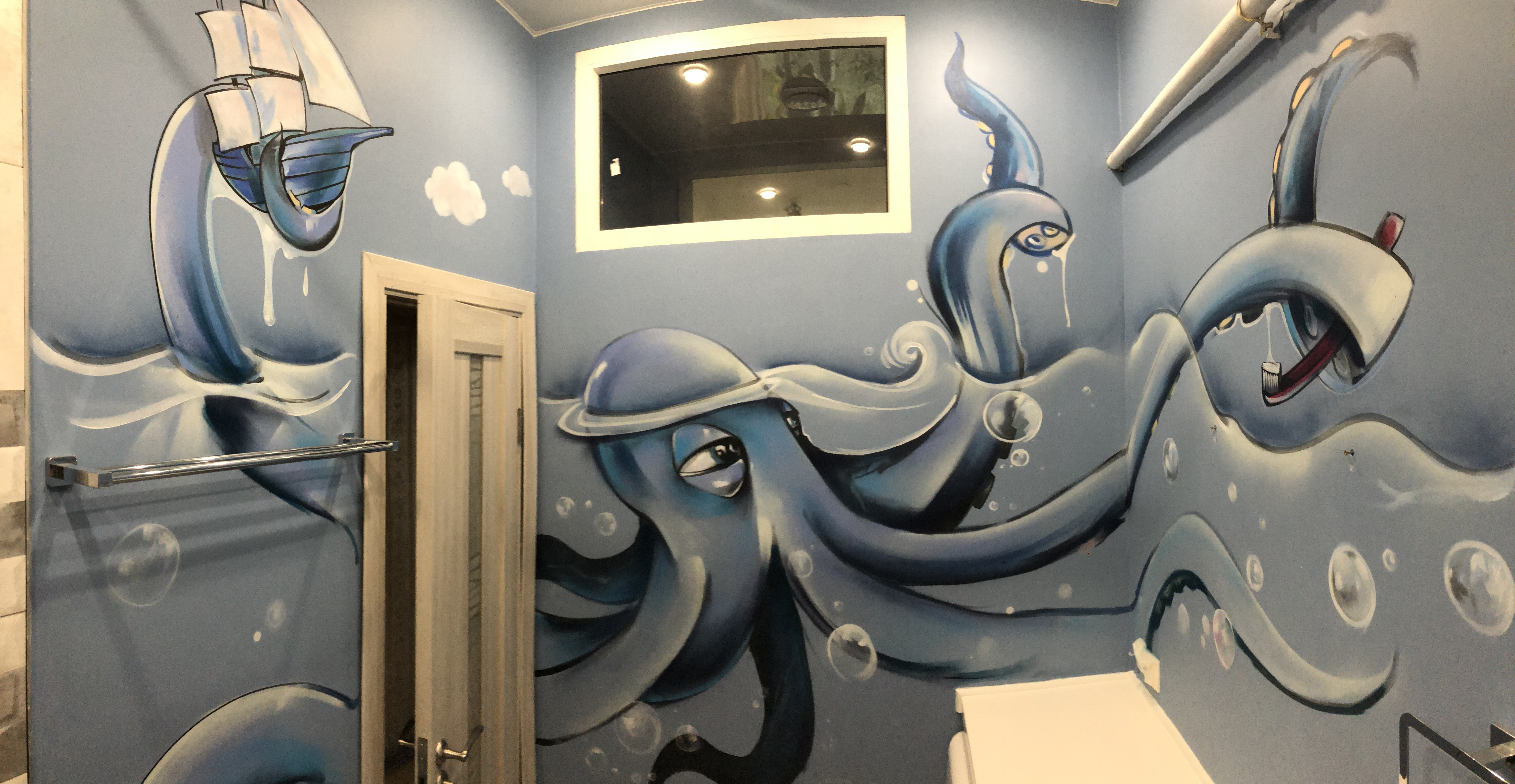 Граффити роспись в ванной