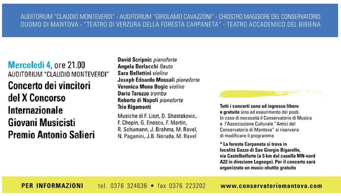 Concerto dei vincitori del X Concorso Internazionale Giovani Musicisti Premio Antonio Salieri