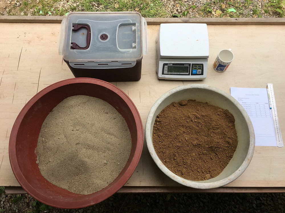 Soil test with soil and sand. Rammed earth wall repair