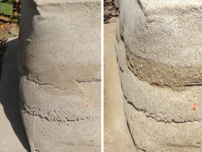 To what extent is the fabric formed rammed earth wall eroded after 5 months?