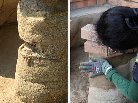 Repairing the rammed earth doghouse