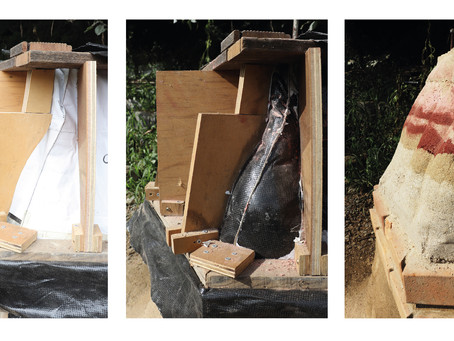 Morphological change revealed through fabric formed rammed earth construction process