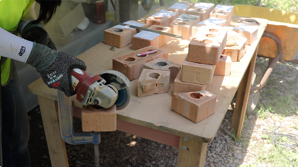 Bricks were cut based on the measurment calculated by a digital modeling