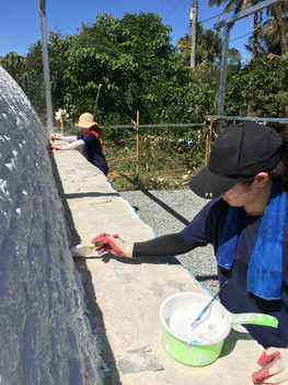 Remove dirts and apply water-based paints to the exterior of the igloo
